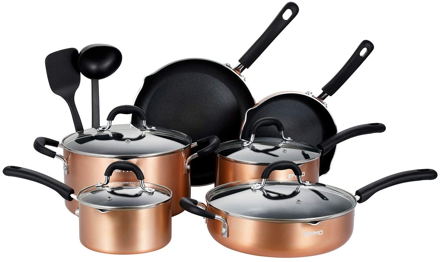 EPPMO 12 Piece Nonstick Cookware Set, Aluminum Pots and Pans, Dishwasher and Oven Safe