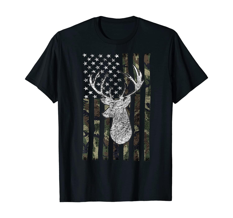 Whitetail Buck Deer Hunting American Camouflage USA Flag T-Shirt