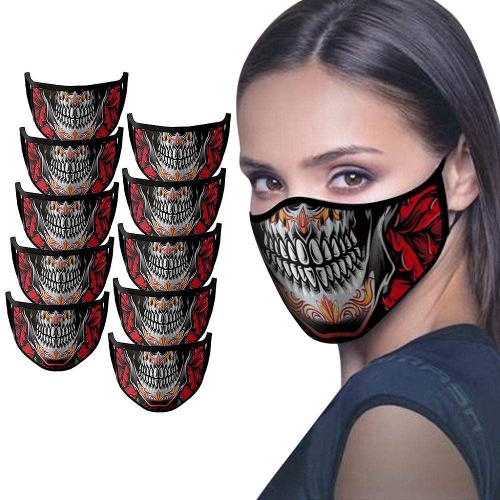 Face Mack Protection Outdoors Dust-Proof Reusable Adjustable Halloween Printing Air Filter Face Shields for Unisex Adults 3PC
