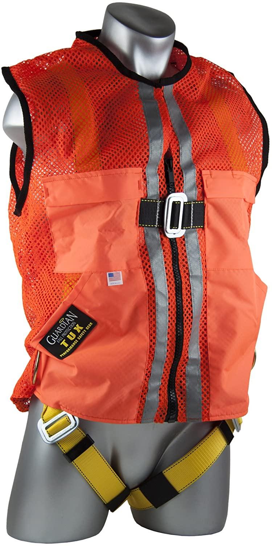 Guardian Fall Protection 02110 Orange Mesh Construction Tux Harness, Medium
