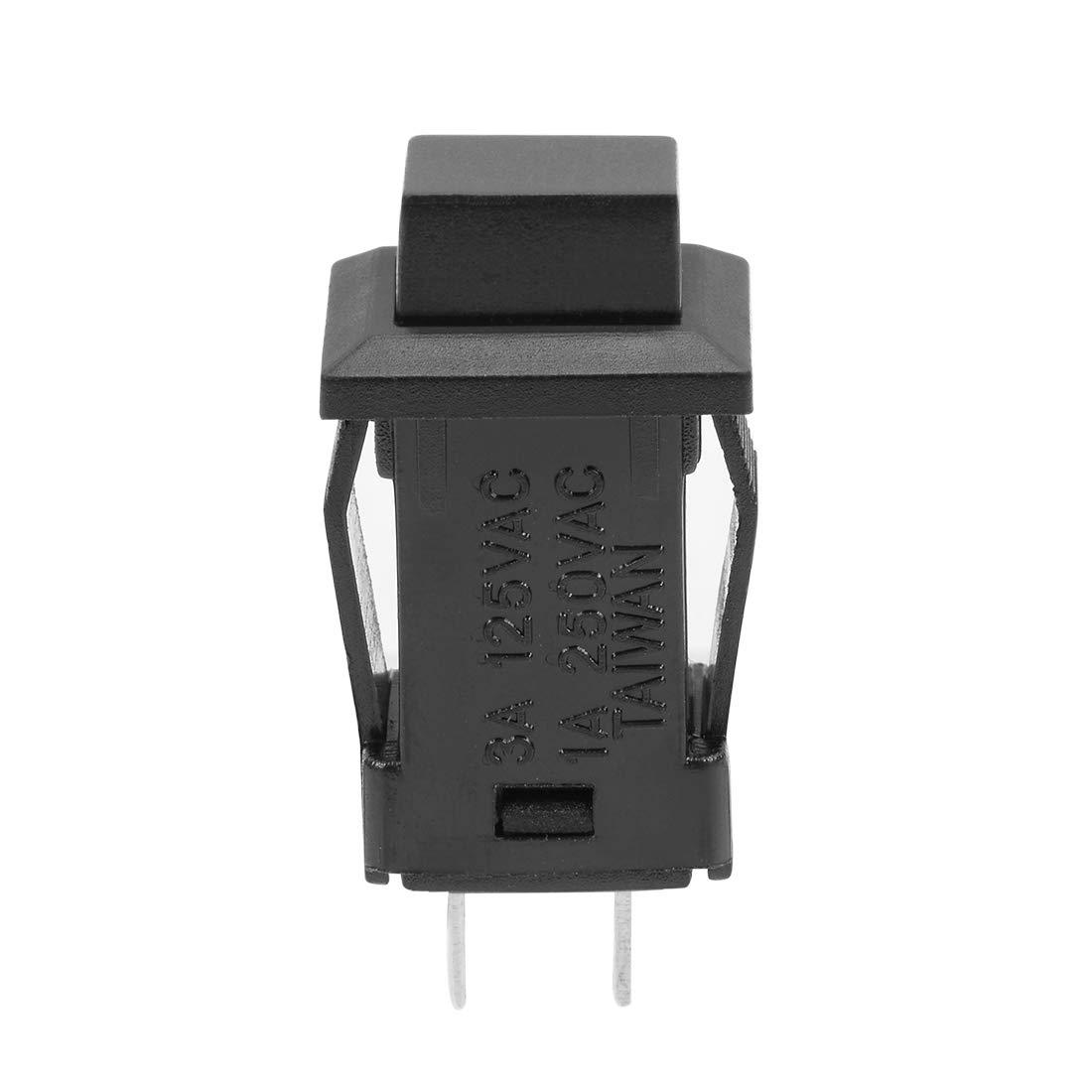 uxcell 5pcs 12mm Latching Type Mini Push Button Switch Black Button SPST NO