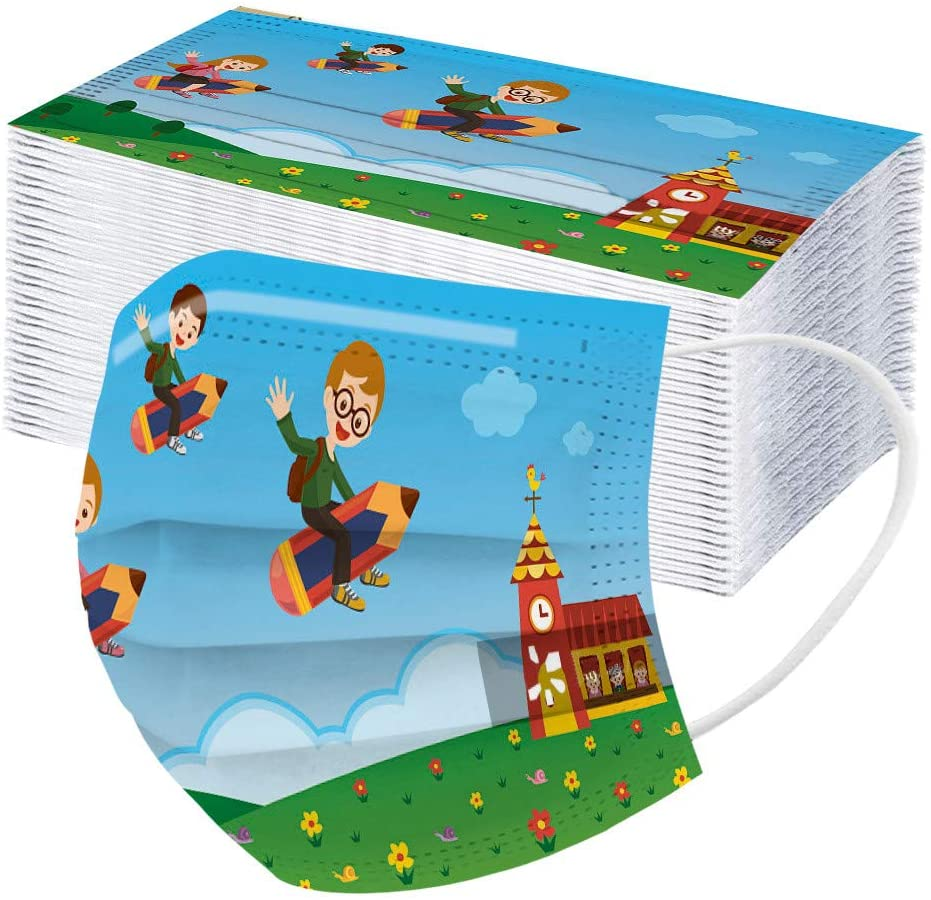 50 pcs Children's 3-ply Disposable Face Protective Cute Cartoon Print Dustproof for Kids (School-101)