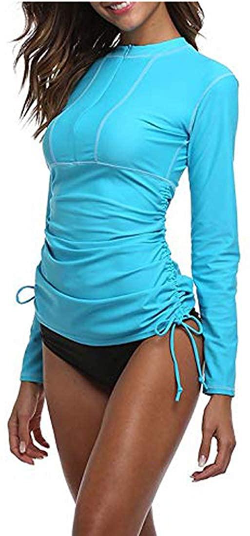 Women's 50+ UV Sunscreen Long Sleeve Sunscreen Swimsuit Top Zipper Jacket Wetsuit