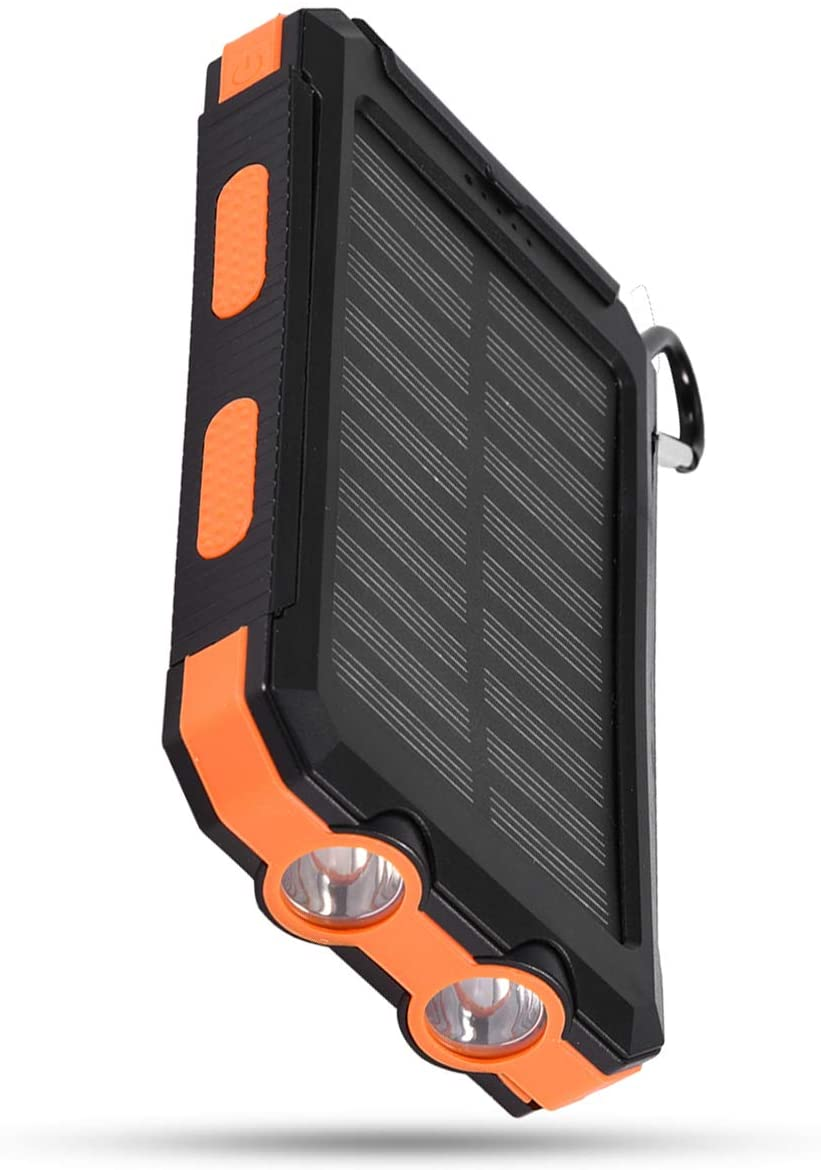 SH-RuiDu 10000mAh Portable Outdoor Fast Charge Solar Mobile Power Bank Case DIY Kit with Compass Black + Orange