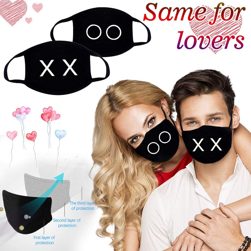 Couple mask,Dust Masks with 2 PC Facial Protection Reusable Washable Adjustable Nose Wire Headgear Full Face Protection Masks,shipped in the U.S. (F(2PCS))