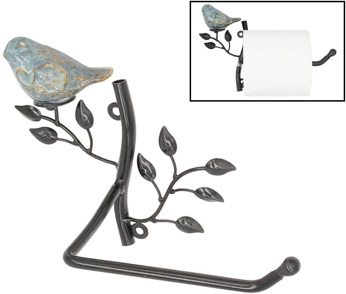 Owlgift Wall Mounted Metal Toilet Tissue Holder w/Ceramic Bird, Roll Organizer for Bathroom – Black