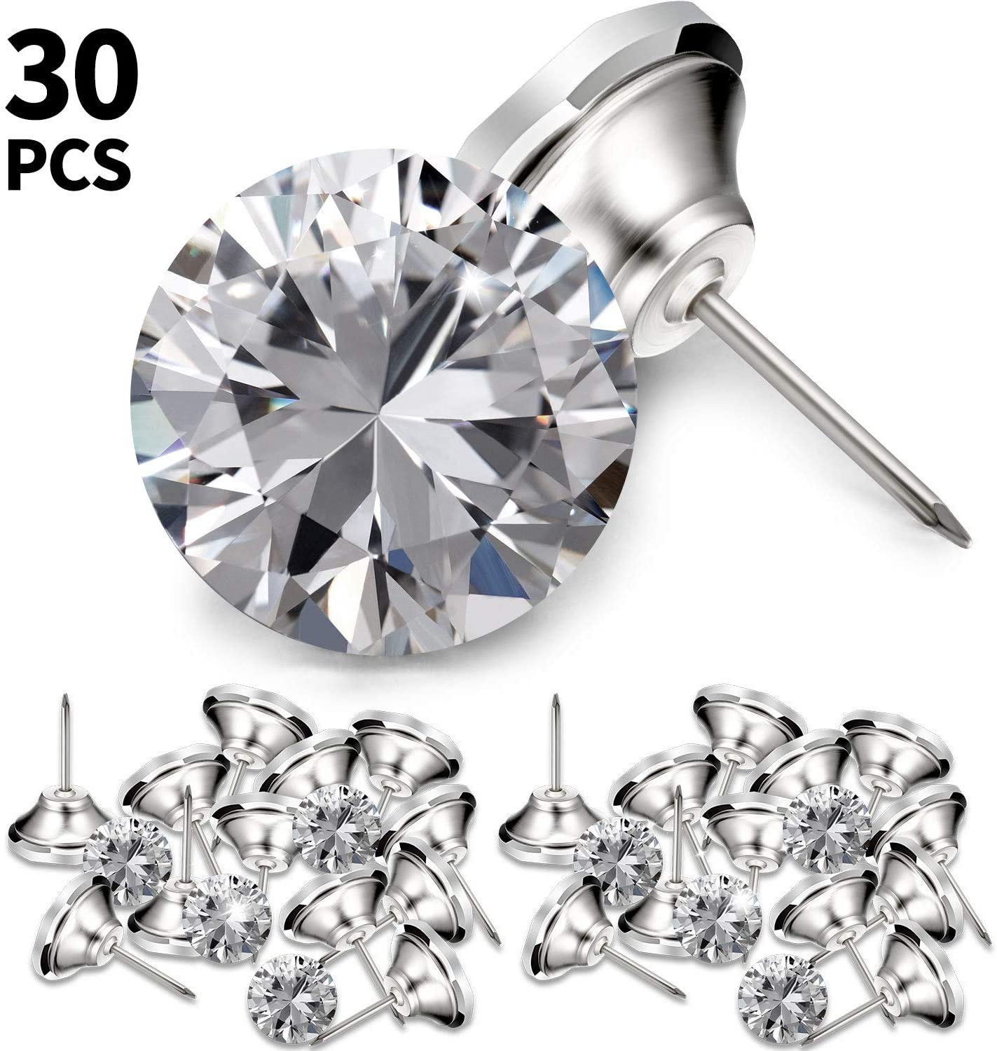 30 Pieces Crystal Upholstery Buttons 25 mm Crystal Upholstery Tacks Clear Crystal Head Upholstery Nails Imitate Diamond Buttons for Sewing DIY Sofa and Wall Decor