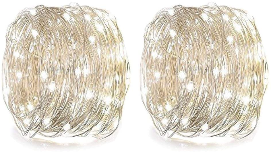 WJZXTEK LED String Lights 2 Pack 50 Led 8 Modes Starry Rope Lights, Twinkling Battery Operated Remote Control Firefly Light, 16.4ft Waterproof Copper Wire for Party Festival Decoration, Cold White