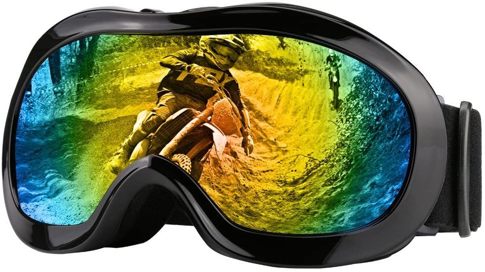 JAMIEWIN ATV Goggles Motorcycle Dirt Bike UV Ski Protection Off Road Racing Glass Kids (Black)