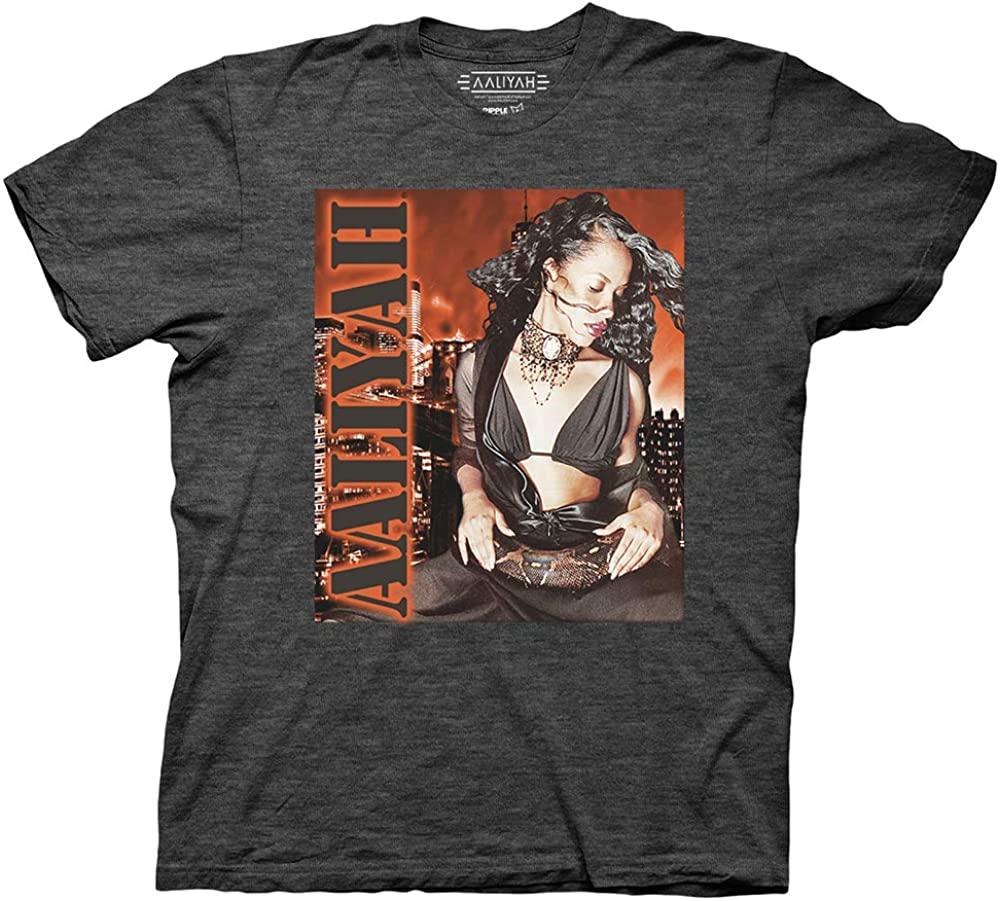 Ripple Junction Aaliyah Adult Unisex Stencil Logo Orange Light Weight Crew T-Shirt