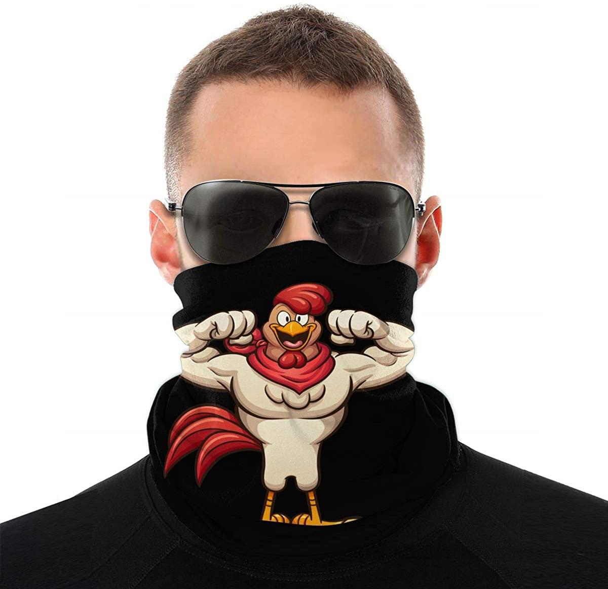 Funny Strong Rooster Cartoon Seamless Bandana Face Mask for Men Women Scarf Headband Sweatband
