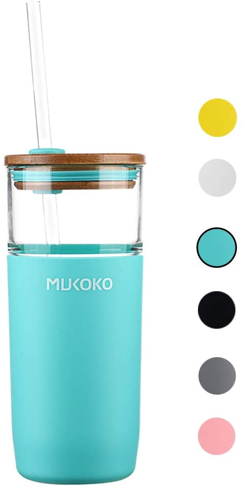 20oz Glass Tumbler with Straw and Lid,Tumbler With Silicone Protective Sleeve and Bamboo Lid - BPA Free Mint Green