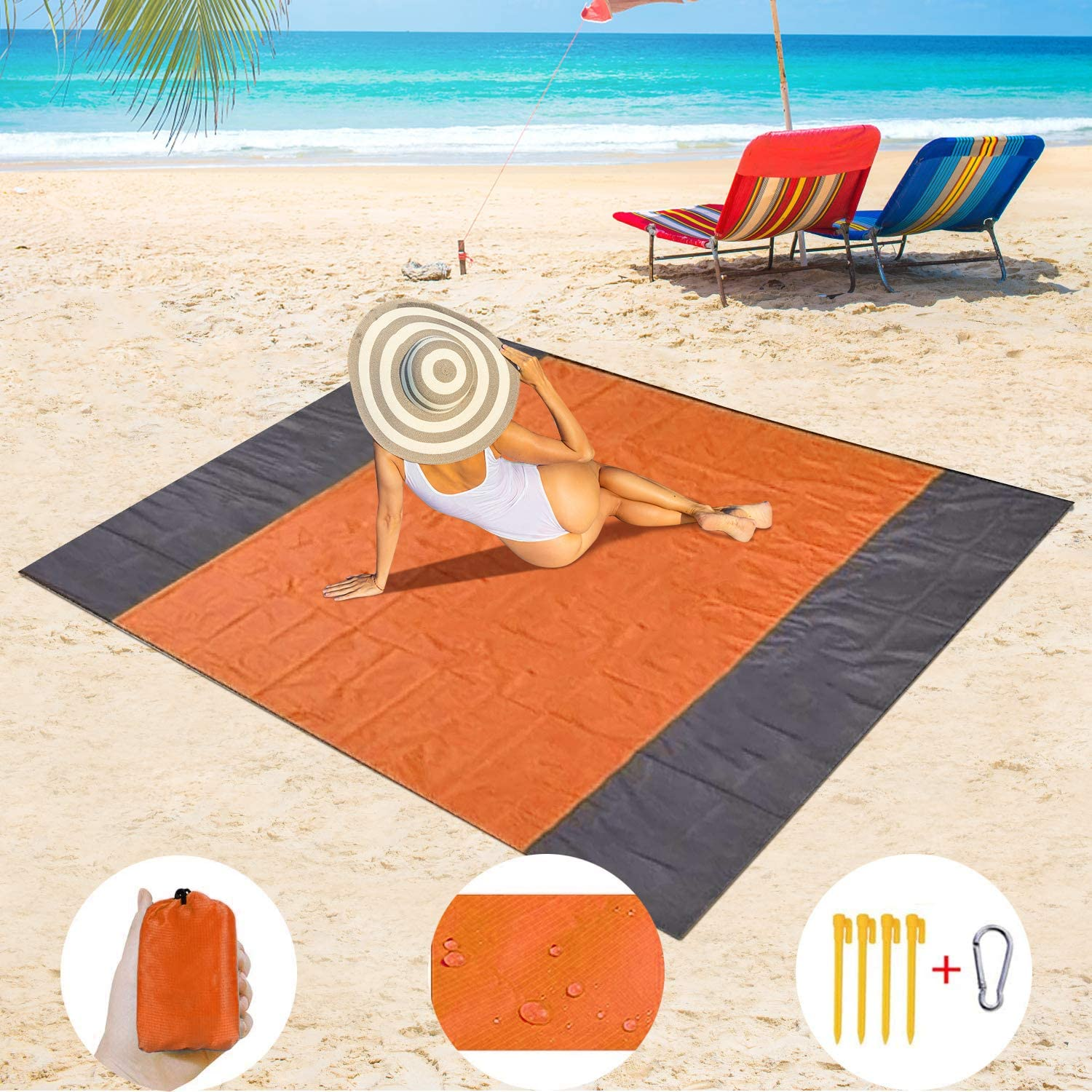 Beach Blanket, 79''×83'' Beach Blanket Waterproof Sand Control for 3-7 Adults, Extra Large Lightweight Beach mat, Portable Picnic Blanket, Travel, Camping Package Sand-Proof mat for Hiking