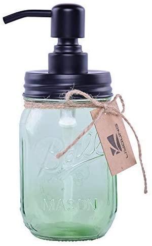 Liyoung Mason Jar Soap Dispenser,Glass Jar Lotion Dispenser,Made of Rust Proof 304 Stainless Steel (Green, 1)