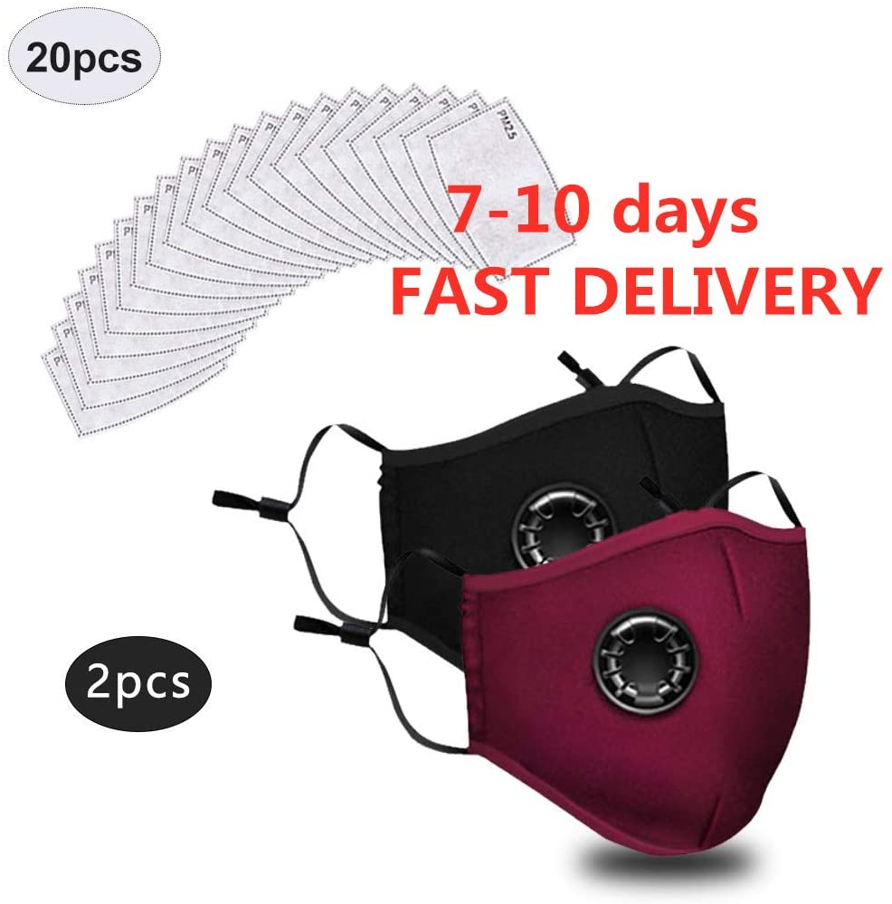 S.H.EEE 2 Pack Washable Face Màsc Bandana with 20 Pcs Replaceable Carbon Filter, Reusable Cotton Protective Anti-Dust Facial Scarf Face Health Protection for Crowded Places (2+20 Filters)