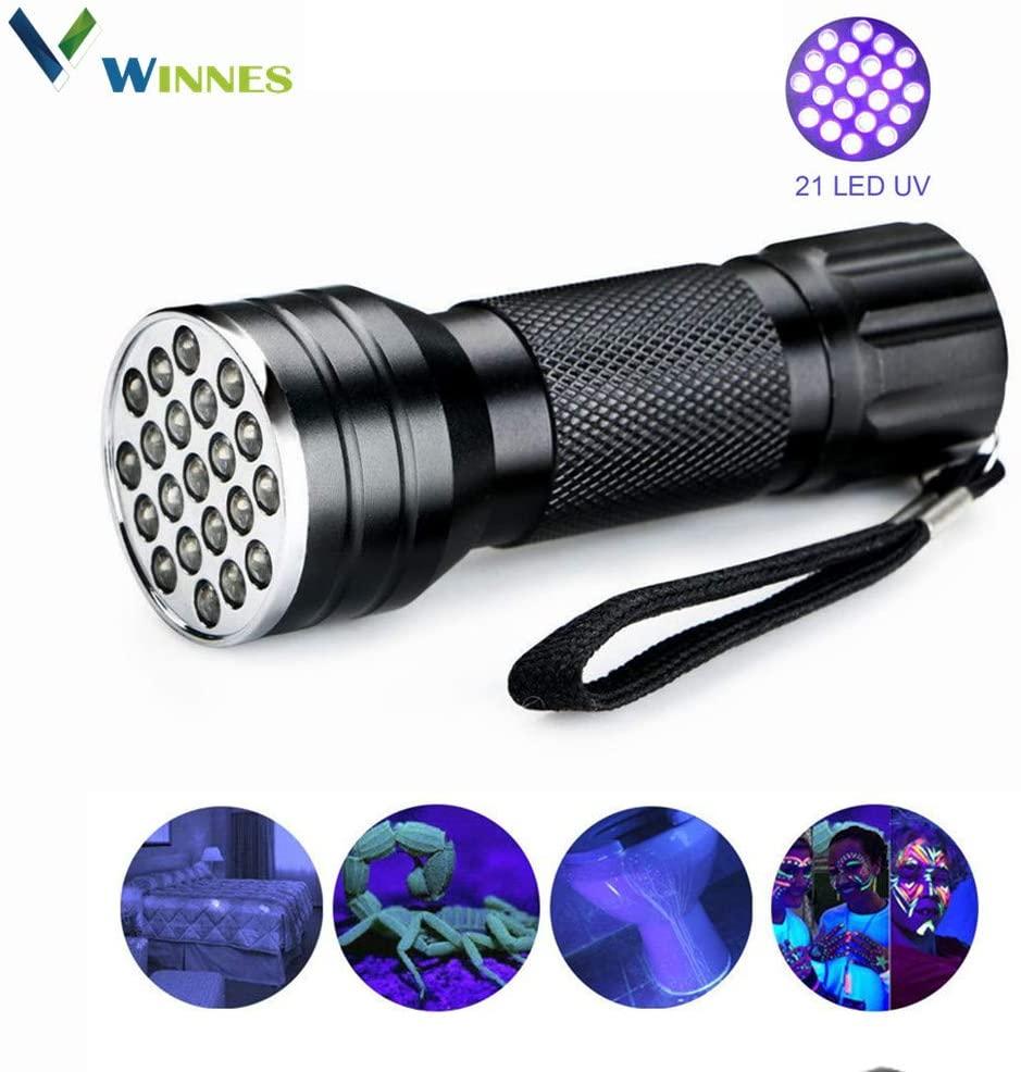 Black Light UV Handheld Flashlight,Winnes 21 LED Blacklight Premium Handheld Ultraviolet Pet Dog and Cat Urine Stain Finder Authenticate currency Multi-functional