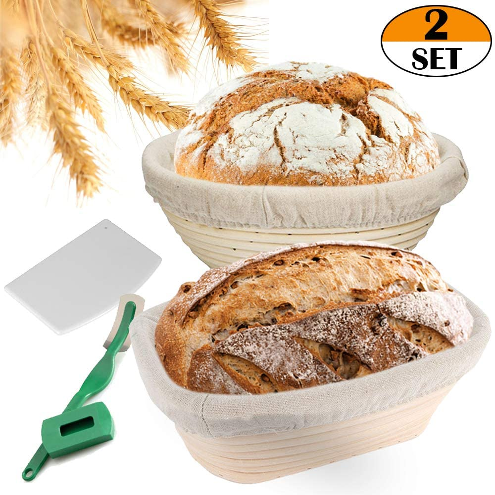 Banneton Bread Proofing Basket Set - 9 Inch Round & 10 Inch Oval with Dough Scraper Linen Liner Cloth Bread Lame - for Dough Rising Baking