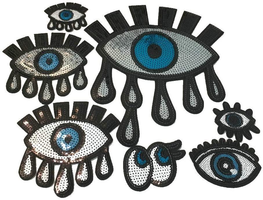 7Pc Eyes Large Sequin Heart Evil Eyes Patch No Glue Cartoon Motif Applique Embroidery Garment Accessory (Blue C)
