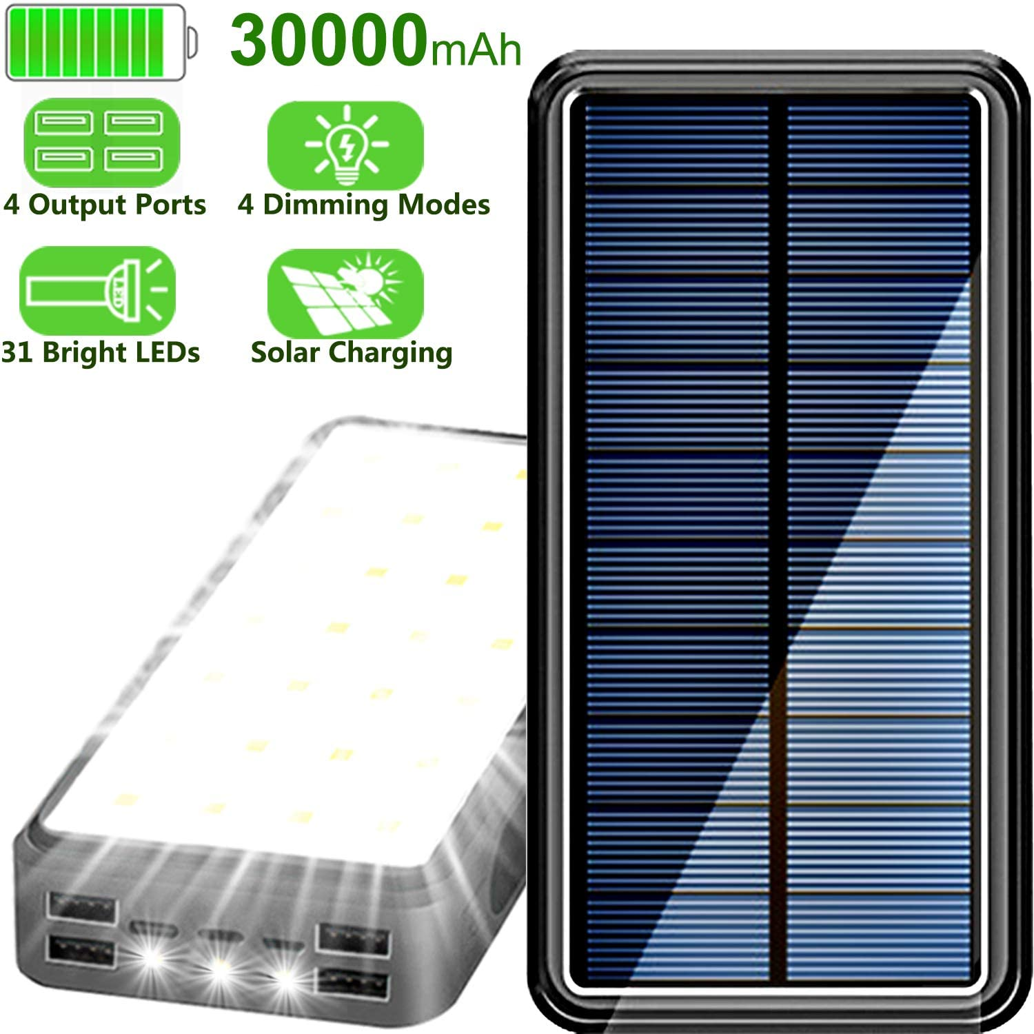 Lit Solar Power Bank 30000 mAh Solar Charger for Cell Phone, Solar Power Charger with 31 LEDs Lights 4 Dimming Modes and 4 USB Output Ports & 3 Inputs Ports for Type-C/iOS/Android