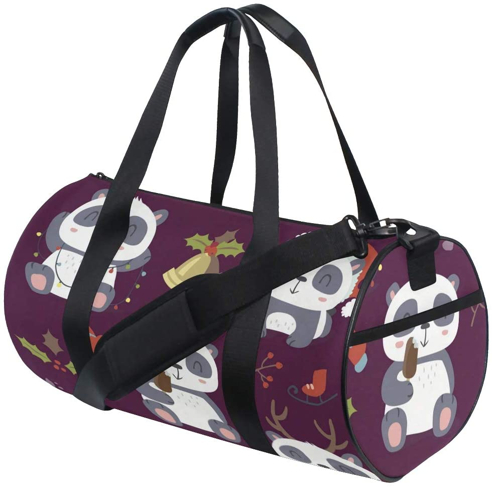 Panda Duffel Bag,Canvas Travel Bag for Gym Sports and Overnight