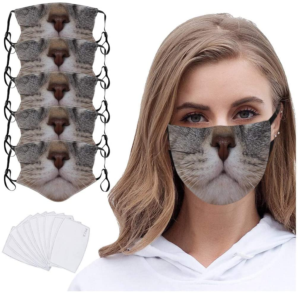 Basysin Dog Cat Cute Printed Cloth Fabric Adults Fashion Adjustable Reusable Breathable Filters Washable Face_Mask 5PC
