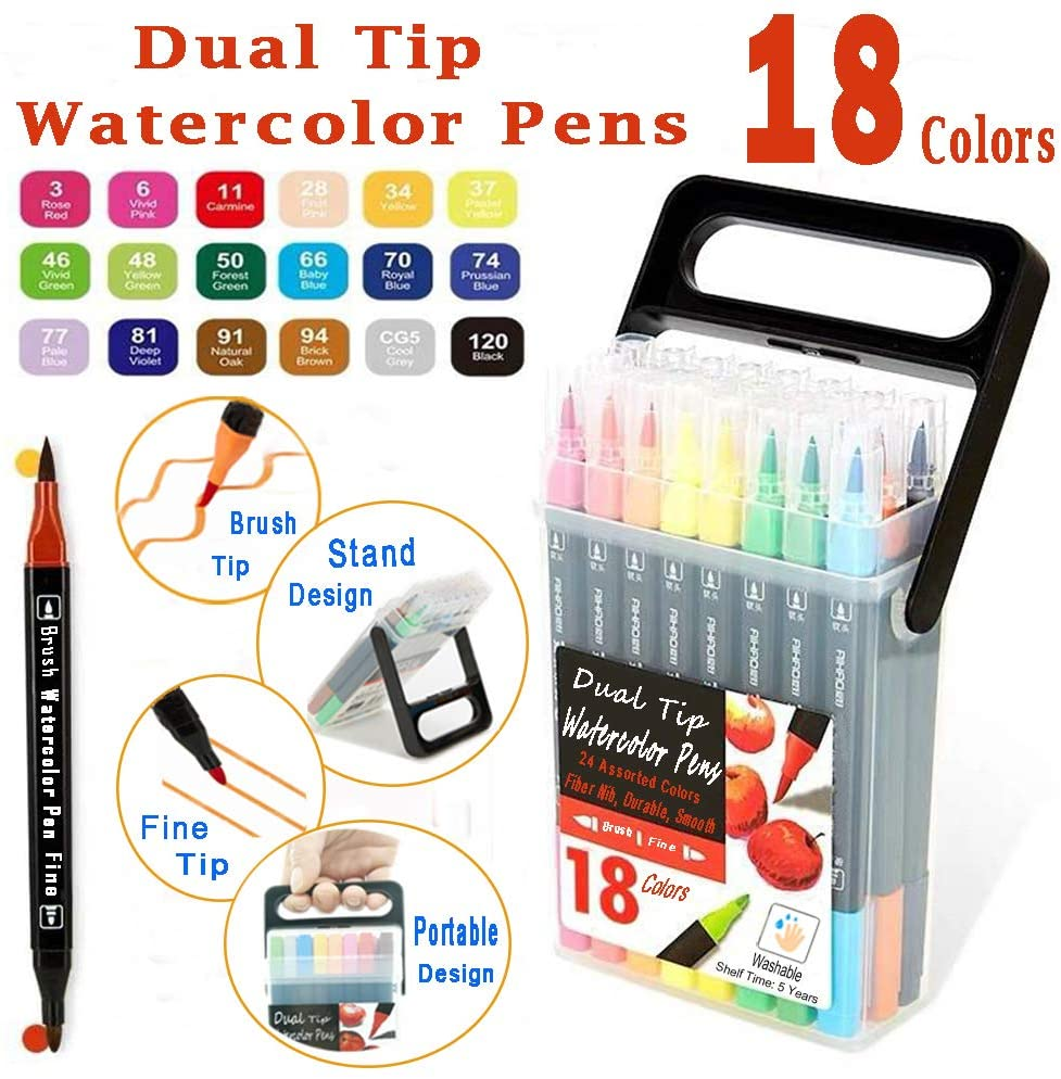 WQIYA Dual Tip Markers for Kids, Washable Markers Set with Stand Portable Case, Gift For Kids (18 Colors Markers for Kids)