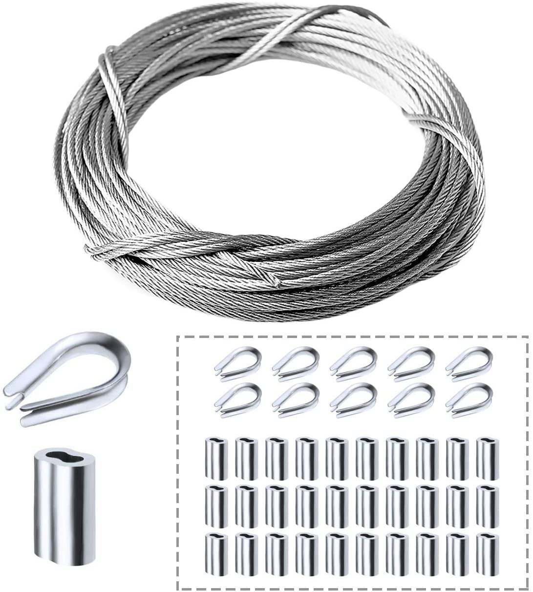 Amadget Stainless Steel Wire Rope, 316 Marine Grade Cable Railing Kit, Aircraft Wire Rope & Picture Hanging Kit for Railing, Decking, DIY Balustrade, Boat Marine Hardware (1/8