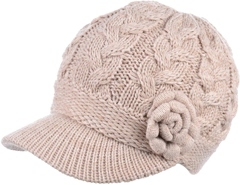 BYOS Women's Winter Fleece Lined Elegant Flower Cable Knit Newsboy Cabbie Hat