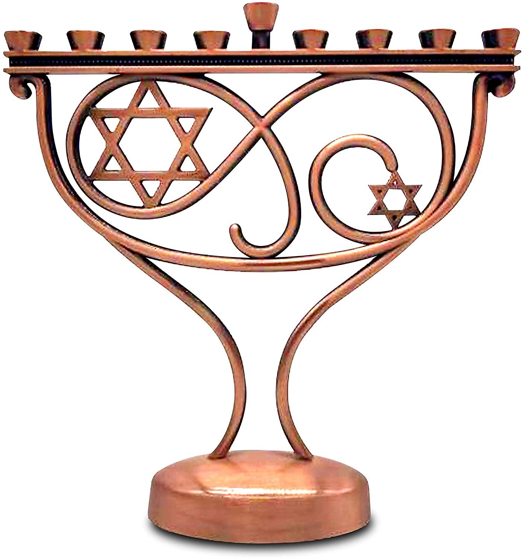 Ner Mitzvah Whimsical Hanukkah Menorah - Menorah for Chanukah Candle - Copper Finish