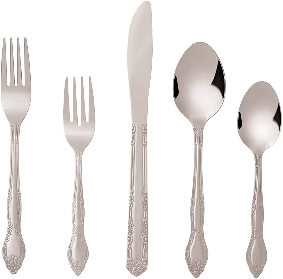 Bon Flora 40-Piece Stainless Steel Flatware Silverware Cutlery Set, Include Knife/Fork/Spoon, Dishwasher Safe, Service for 8