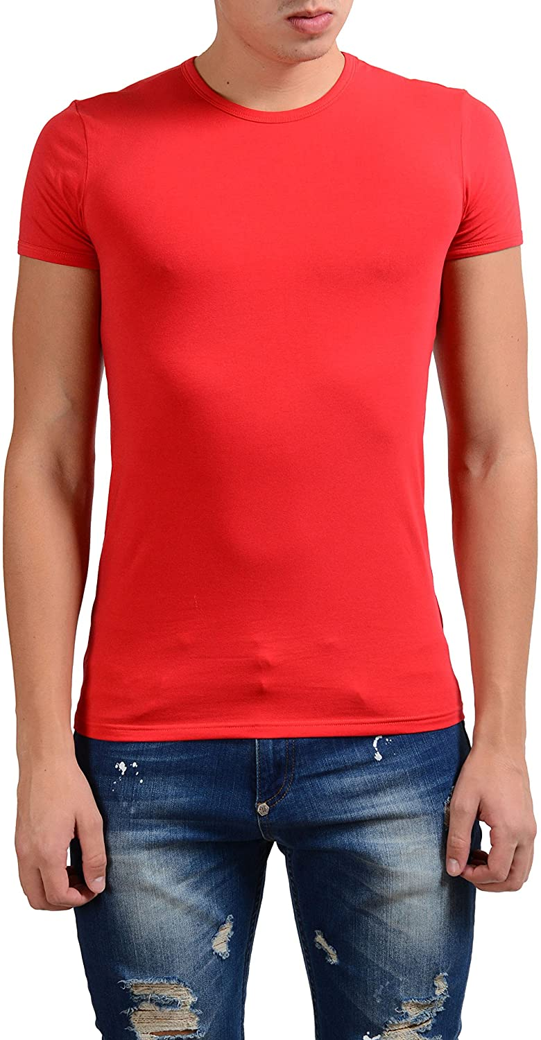 Versace Collection Men's Red Stretch Crewneck Short Sleeve T-Shirt US S IT M;