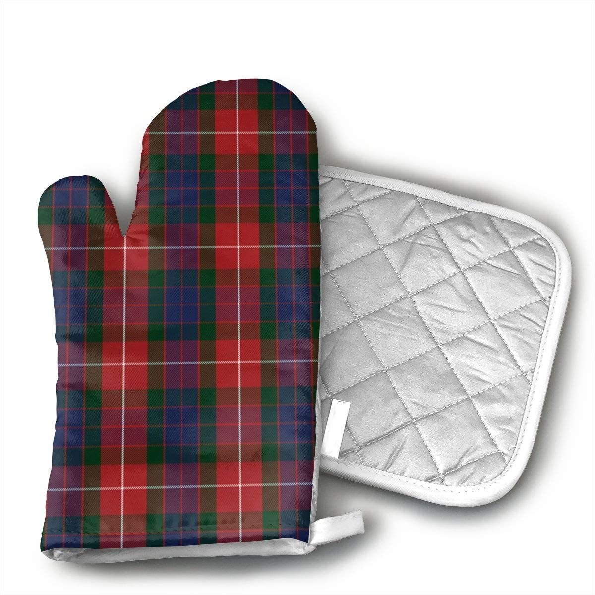 antcreptson Fraser Red Tartan Polyester Set of Oven Mitt and Pot Holder for BBQ   Cooking   Baking   Grilling   Microwave   Barbecue
