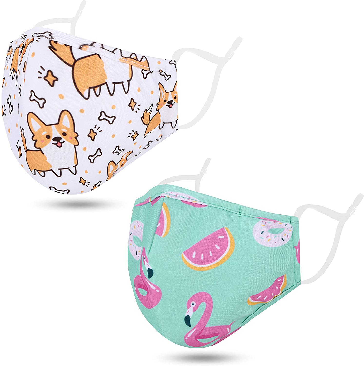 Multi Pack Childrens Cloth Face Madks Reusable Washable with Cute Print Design, Kids Face Madks with Adjustable Ear Loops and Nose Bridge, 5-12T, Dog/Swans