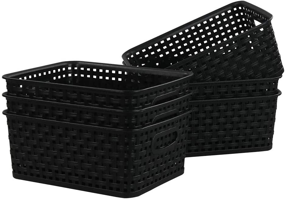 Kiddream Set of 6 Plastic Weave Storage Basket Pantry Organizing Bin (black)