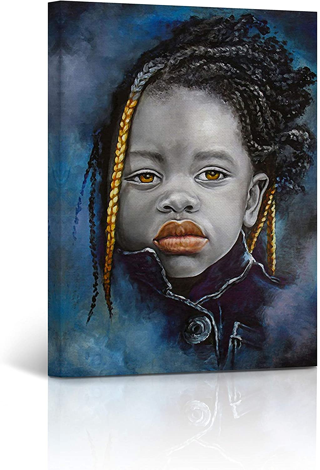 Buy4Wall African Wall Art Canvas Print Little Kid Impressive Look in Black Orange and Blue Oil Painting Art Home Decor Artwork Stretched and Framed - Ready to Hang -%100 Handmade in The USA 12x8