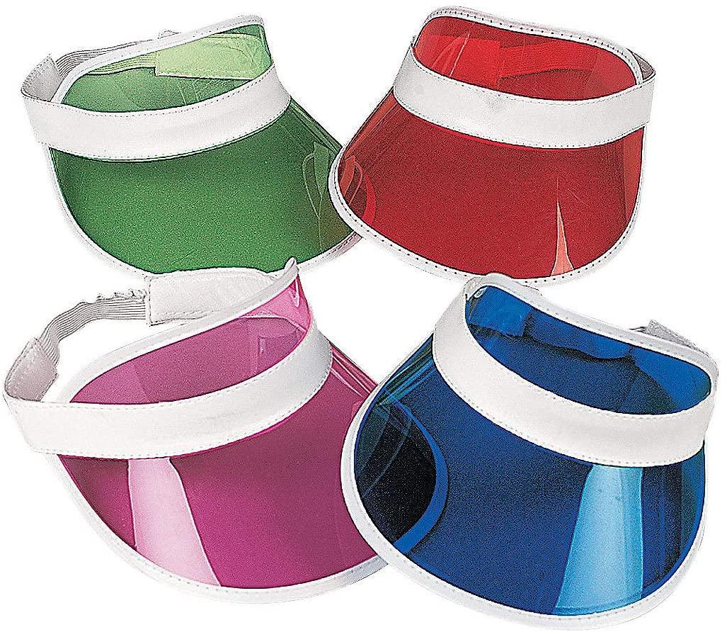 Fun Express Bulk Visor Assortment (Set of 12 Colorful Transparent Party Visors)