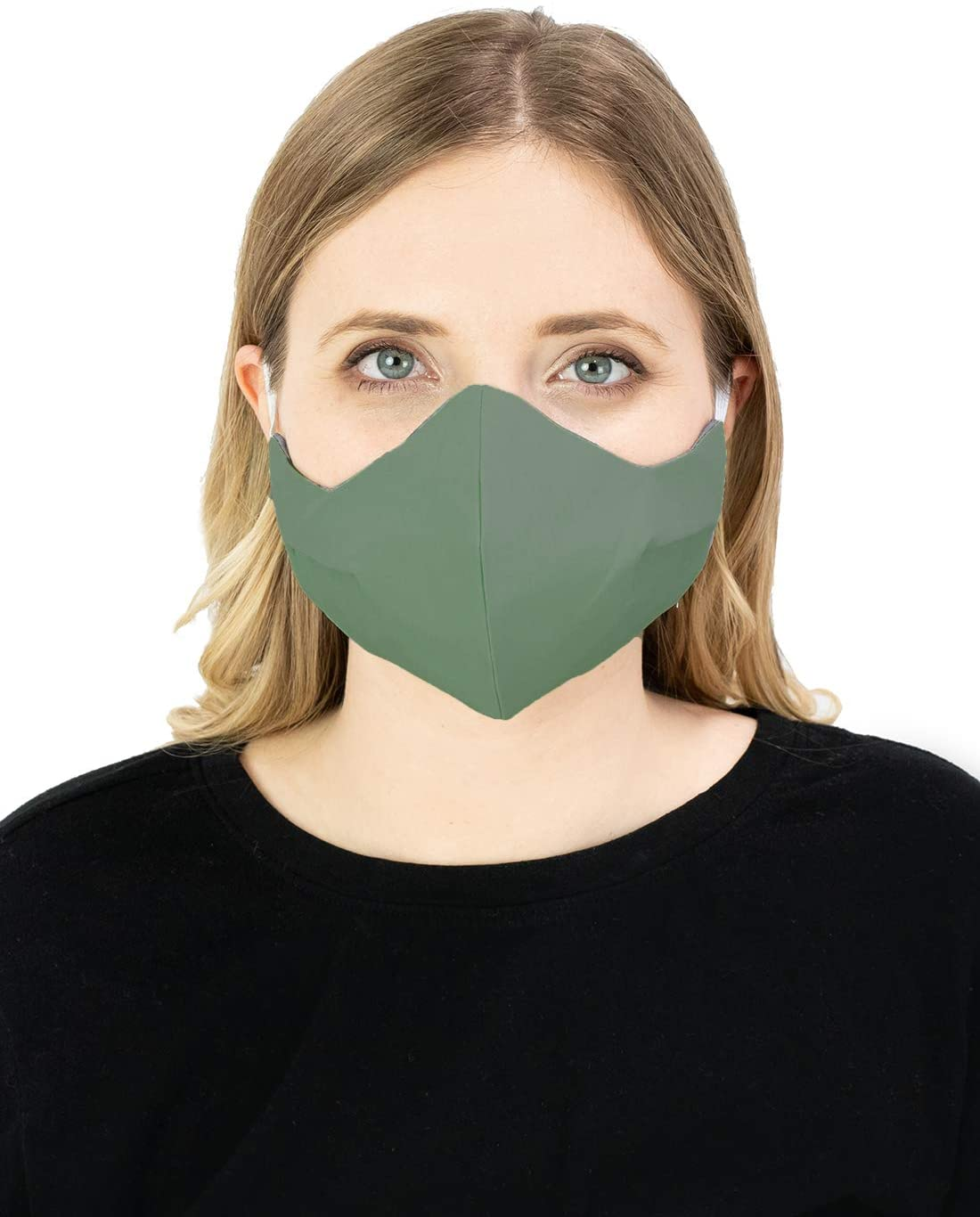 Masker-AID: 3 Layer Cotton, Reusable, Reversible, Breathable, Unisex Adult Face Mask (Over Ear S/M, Sage)
