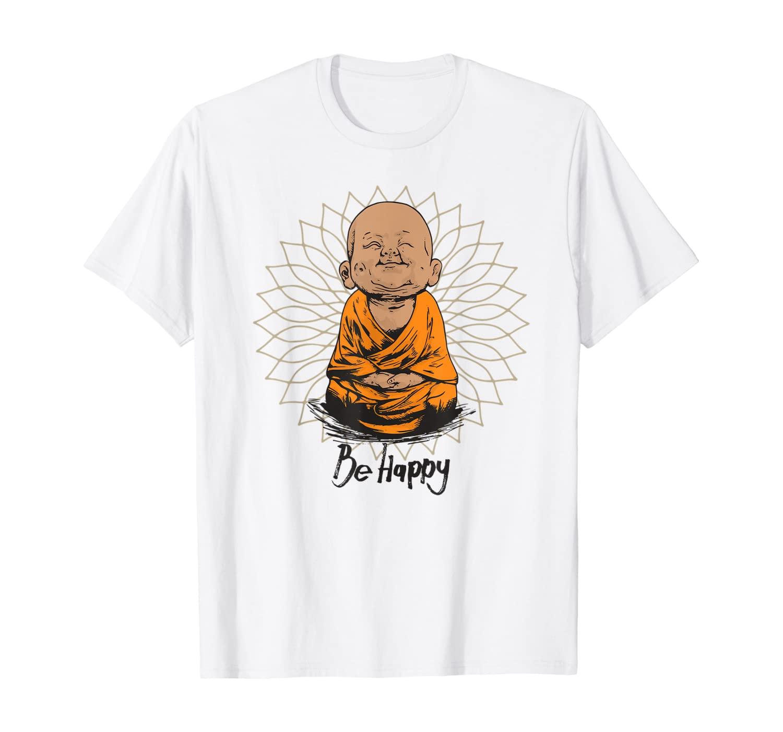 Be Happy shirt Zen Little Buddha tshirt Mandala T-shirt gift
