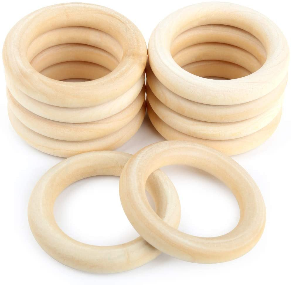 HNYYZL 10Pcs Unfinished Solid Wooden Rings Smooth Natural Wood Ring for Craft, Ring Pendant and Connectors Jewelry Making, 6cm/2.4Inch in Diameter