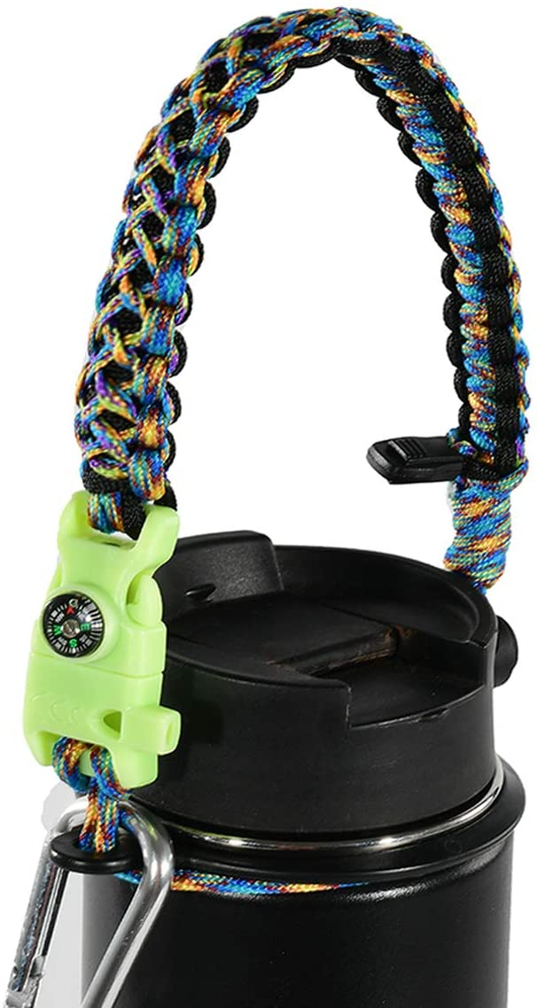 QeeLink Paracord Handle Compatible with Hydro Flask 1.0 Wide Mouth Water Bottles - Paracord Carrier Strap Cord with Safety Ring & Carabiner & Compass & Fire Starter, 12oz - 64oz
