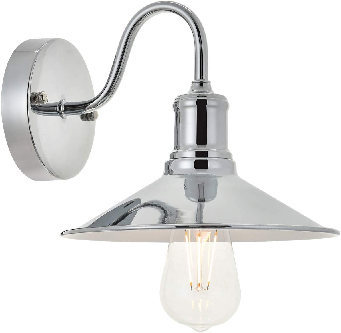 TODOLUZ Modern Goose-Neck Sconce Wall Lamps with Polished Chrome Stylish Wall Mount Light Fixture for Bedroom Bathroom