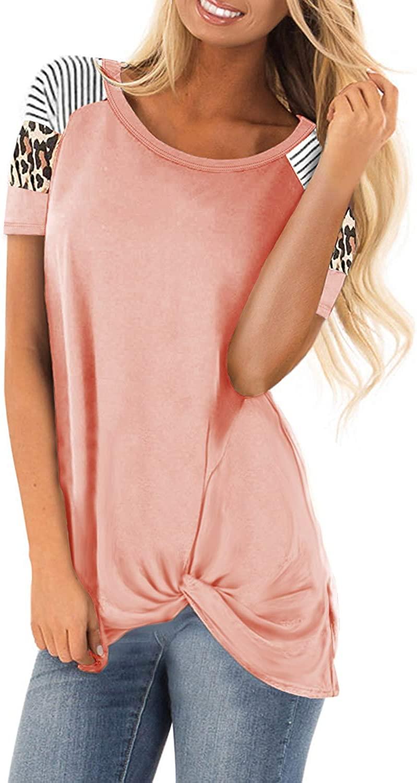 SENSERISE Womens Leopard Print Striped Short Sleeve Tunic Tops Color Block Blouses Twist Knot Shirts
