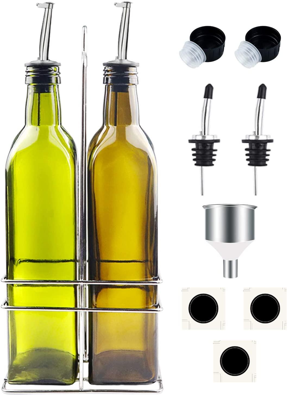 Olive Oil Dispenser Bottle Set 500 ml Glass Olive Oil Bottles 17oz Airtight Glass Vinegar Cruet with Upgraded Stainless Steel Rack Holder Easy Pour Spouts Funnel and Labels for Kitchen 2 Pack