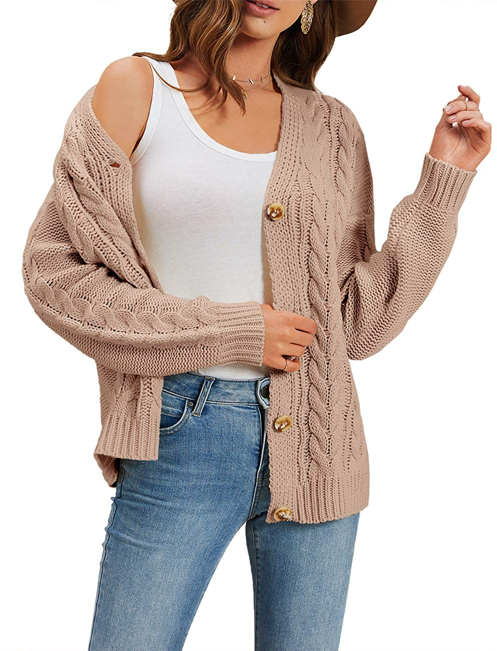 Imily Bela Womens Button Down Cardigans Fall Cable Knit Open Front Slouchy Sweaters Coat Pink