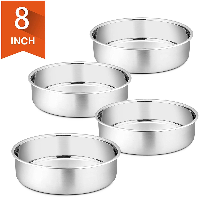 8 Inch Cake Pan Set of 4, P&P CHEF Stainless Steel Round Baking Pans LayerCakePans Tin Set, Mirror Polished & Dishwasher Safe, Non Toxic & Healthy