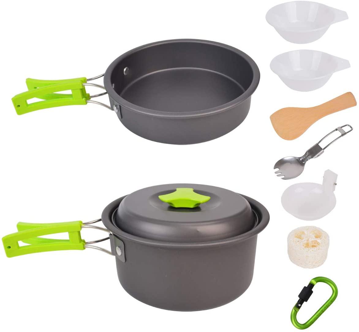 Baitaihem Camping Cookware Set Outdoor Hiking Picnic Pot Fry Pan Kit