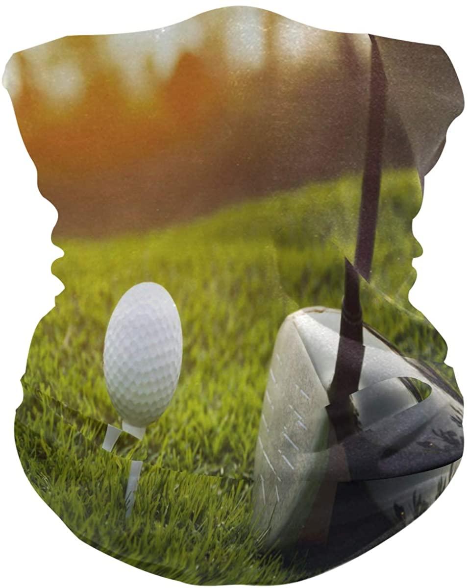 ALAZA Golf Ball Club Green Grass Headwear Magic Scarf Headband Bandana Neck Gaiters Outdoor Sports for Women Men