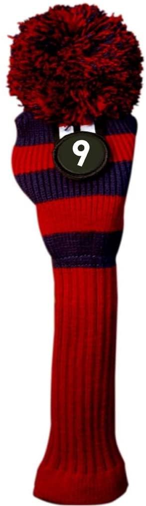 Majek #9 Hybrid Rescue Utility Red & Blue Golf Headcover Knit Pom Pom Retro Classic Vintage Head Cover