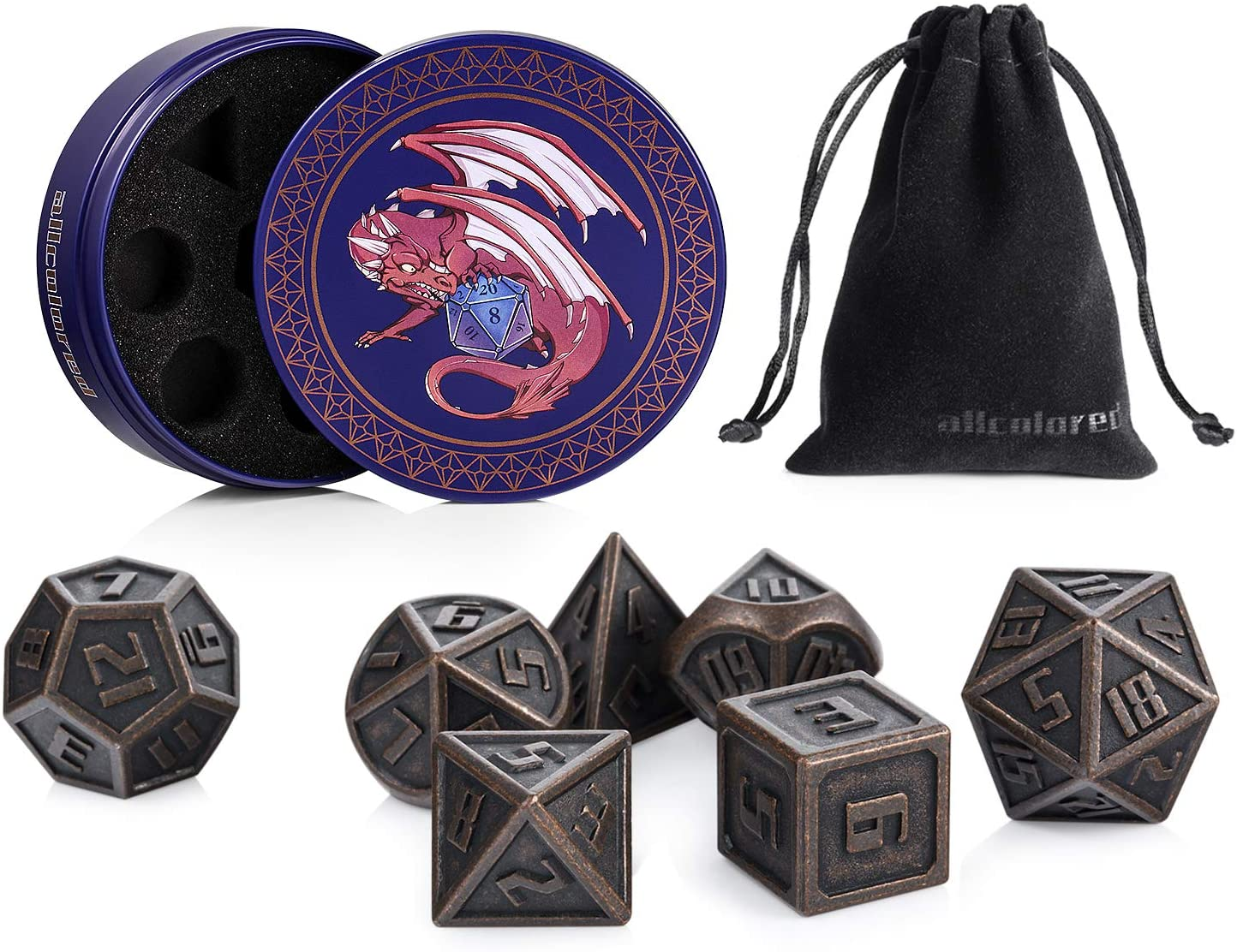 ALLCOLORED 7PCS Standard 16mm Metal DND Dice Set Ancient Copper D&D Polyhedral Dice Metal Tin and Velvet Bag for Playing Tabletop Roleplay Games Dungeons and Dragons