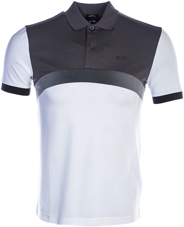 BOSS Paule 3 Polo Shirt in White & Grey